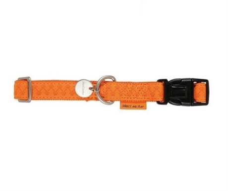 Ställbart hundhalsband med läderlook orange